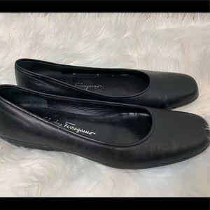 Salvator Ferragamo Black Leather Flats